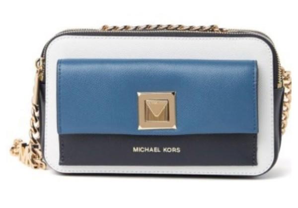 Сумка Michael Kors Double Zip на цепочке бело-синяя