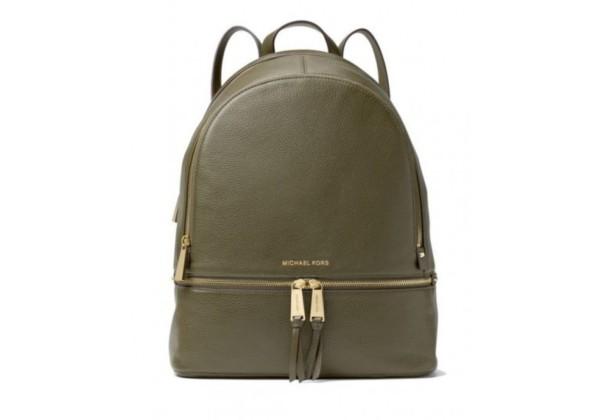 Рюкзак Michael Kors Rhea с золотым замком зеленый