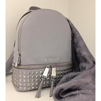 Рюкзак Michael Kors Rhea с заклепками и замочком серый