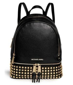 Рюкзак Michael Kors Rhea Zip с золотыми заклепками черный
