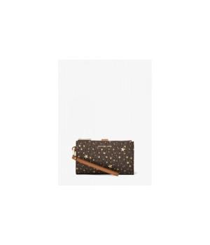 Michael Kors Adele Star Embellished Logo Smartphone Wallet коричневый