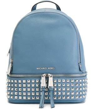 Рюкзак Michael Kors Rhea женский с серебряными заклепками голубой