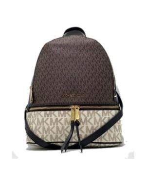 Рюкзак Michael Kors Rhea коричнево-белый с золотым