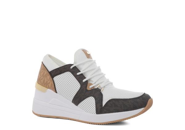 Женские кроссовки MICHAEL KORS LIV TRAINER белые с коричневым