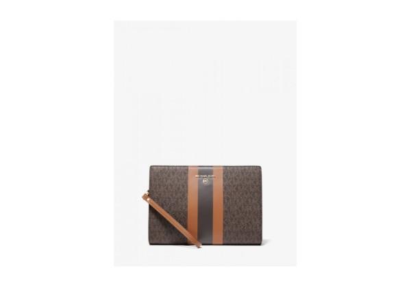Сумка Michael Kors Stripe Zip Pouch с логотипом коричневая