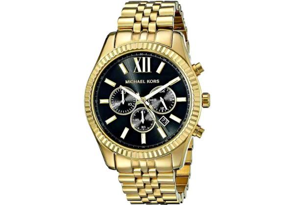 Michael Kors Часы Мужские MK8286 с черным циферблатом золотые