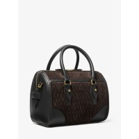Michael Kors Monogramme Quilted Suede and Leather Duffel Bag