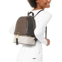 Рюкзак Michael Kors Signature Rhea Zip с логотипом коричневый