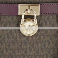 Сумка Michael Kors  Hamilton с надписями коричнево-синяя