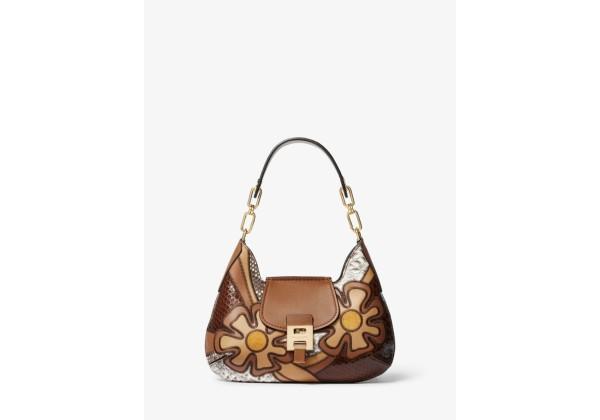 Michael Kors Bancroft Small Patchwork Snakeskin and Leather Shoulder Bag