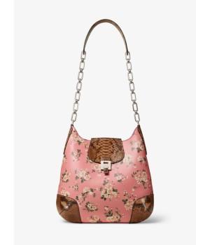 Сумка Michael Kors Bancroft Oversized Floral с принтом розовая