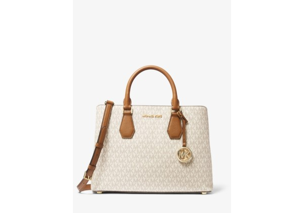 Michael Kors Camille Large Logo and Leather Satchel