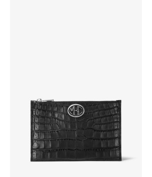 Michael Kors Monogramme Crocodile-Embossed Leather Pouch