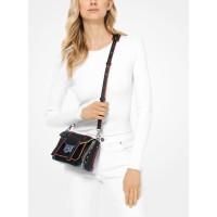 Michael Kors Manhattan Small Contrast-Trim Leather Crossbody Bag