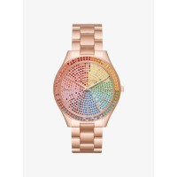 Michael Kors Oversized Slim Runway Rainbow Pavé Rose Gold-Tone Watch
