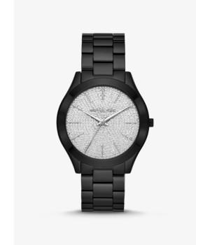 Michael Kors Slim Runway Pavé Black-Tone Watch