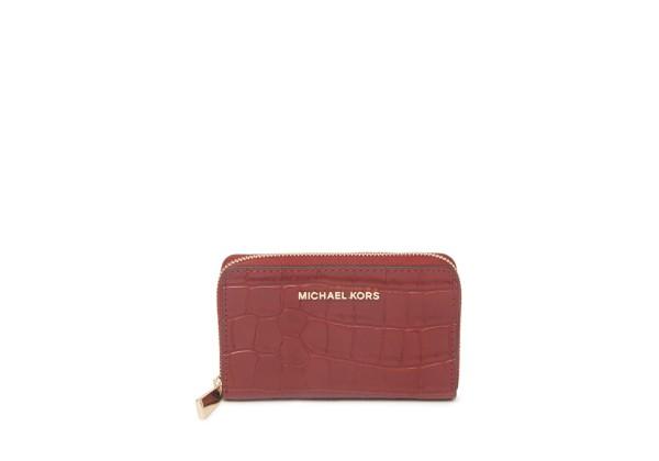 Michael Kors Jet Set Croc Embossed Leather Card Case