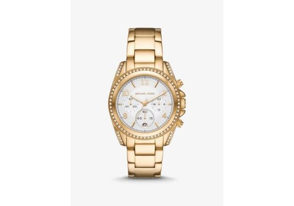 Michael Kors Oversized Blair Pavé Gold-Tone Watch