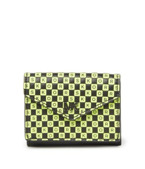 Michael Kors Leather Small Checkered Letters Trifold Flap Wallet